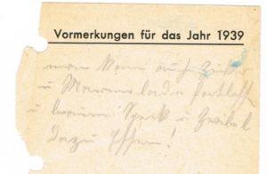 Rezeptbuch - eingelegteer Zettel von 1938